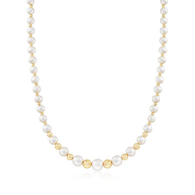 6.5-11mm Cultured Pearl Graduated Necklace in 14kt Yellow Gold, , default