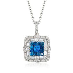 "Gregg Ruth .81 ct. t.w. Sapphire and .66 ct. t.w. Diamond Pendant Necklace in 18kt White Gold. 18"", , default"