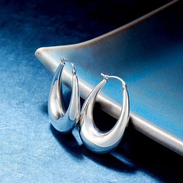Sterling Silver Graduated Hoop Earrings