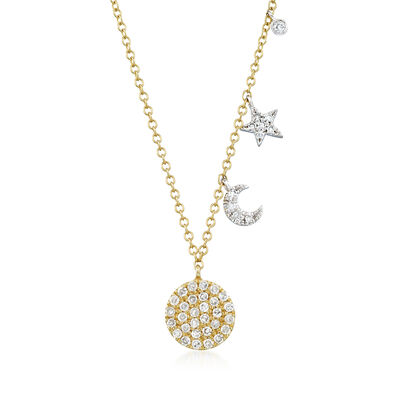 .34 ct. t.w. Pave Diamond Moon and Star Disc Necklace in 14kt Yellow Gold, , default
