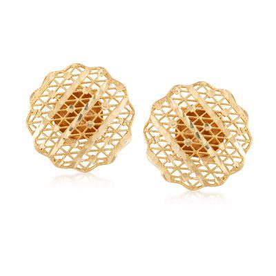Italian 14kt Yellow Gold Filigree Earrings , , default