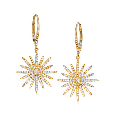 .75 ct. t.w. Diamond Starburst Drop Earrings in 18kt Yellow Gold, , default