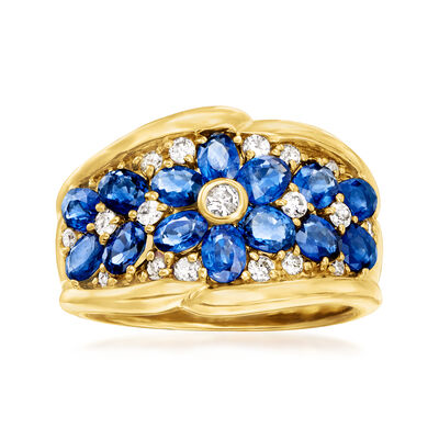 C. 1990 Vintage 2.58 ct. t.w. Sapphire and .36 ct. t.w. Diamond Flower Ring in 18kt Yellow Gold