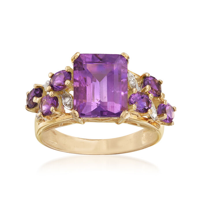 C. 1990 Vintage 4.00 ct. t.w. Amethyst Ring with Diamond Accents in 10kt Yellow Gold. Size 7, , default