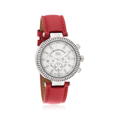 Saint James Women's 39mm Silvertone Watch with Red Leather and Swarovski Crystals, , default