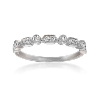Henri Daussi .16 ct. t.w. Diamond Wedding Ring in 14kt White Gold, , default