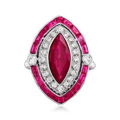 C. 1980 Vintage 3.03 ct. t.w. Ruby and .45 ct. t.w. Diamond Marquise-Shaped Ring in 18kt White Gold