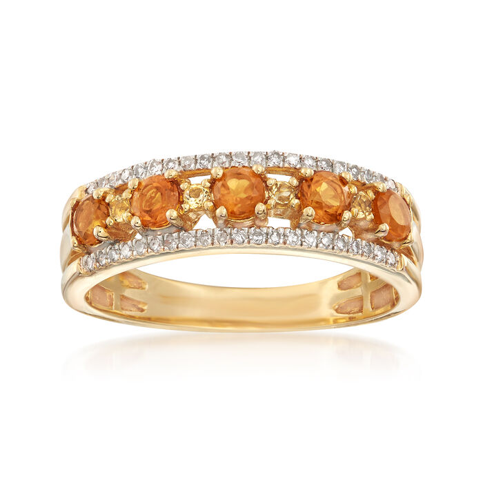 .45 ct. t.w. Multicolored Citrine and .13 ct. t.w. Diamond Ring in 18kt Yellow Gold Over Sterling, , default