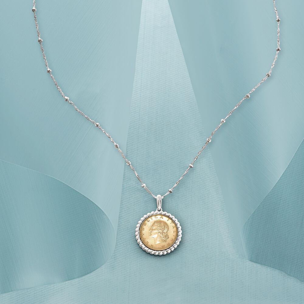 Italian Genuine 20-Lira Coin Pendant Necklace in Sterling Silver  18