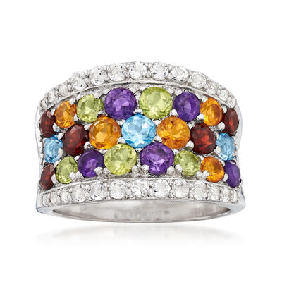 4.40 ct. t.w. Multi-Gemstone Rainbow Ring in Sterling Silver, , default