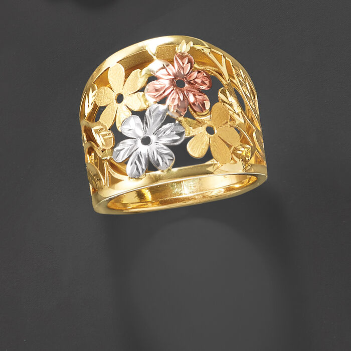 Italian 14kt Tri-Colored Gold Floral Ring
