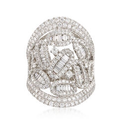 2.92 ct. t.w. Baguette Diamond Openwork Ring in 18kt White Gold, , default