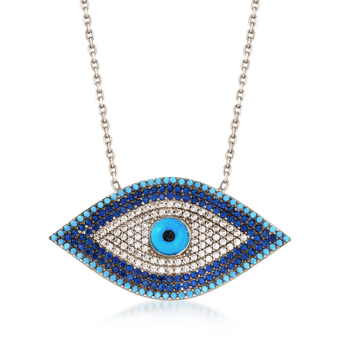 .30 ct. t.w. White and Blue CZ Evil Eye Necklace with Simulated Turquoise in Sterling Silver, , default