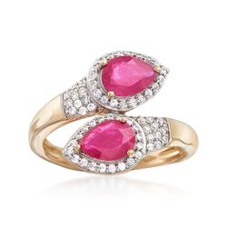1.60 ct. t.w. Ruby and .30 ct. t.w. White Zircon Bypass Ring in 14kt Yellow Gold, , default