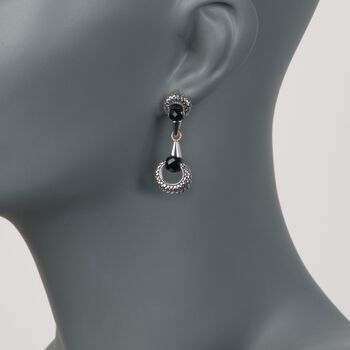 Andrea Candela Black Onyx Drop Earrings in Sterling Silver and 18kt Gold, , default