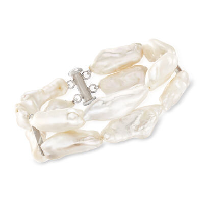 8-10mm Cultured Baroque Pearl Double-Row Bracelet with Sterling Silver