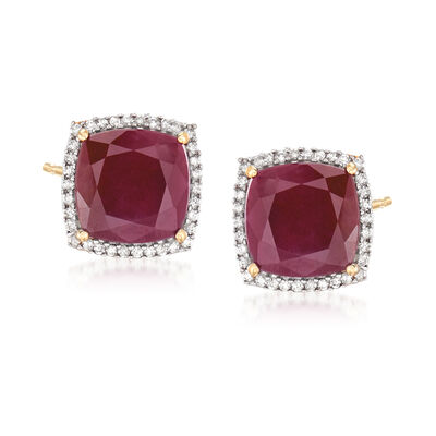 7.60 ct. t.w. Ruby and .23 ct. t.w. Diamond Stud Earrings in 14kt Yellow Gold
