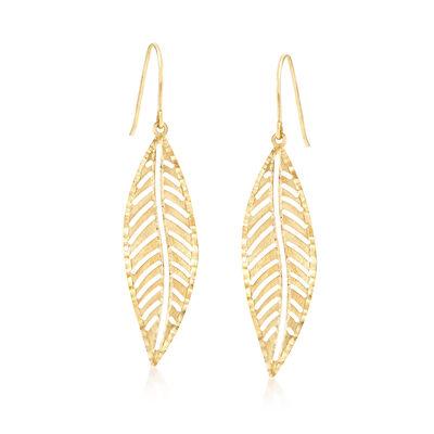 Italian 14kt Yellow Gold Leaf Drop Earrings, , default