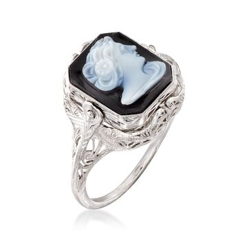 C. 1950 Vintage Black Onyx and White Agate Cameo Flip Ring with Diamond Accent in 14kt White Gold. Size 8.5, , default