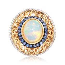 Opal and .40 ct. t.w. Sapphire Ring With .30 ct. t.w. White Topaz in 14kt Gold Over Sterling, , default