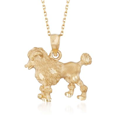 14kt Yellow Gold Poodle Dog Pendant Necklace, , default