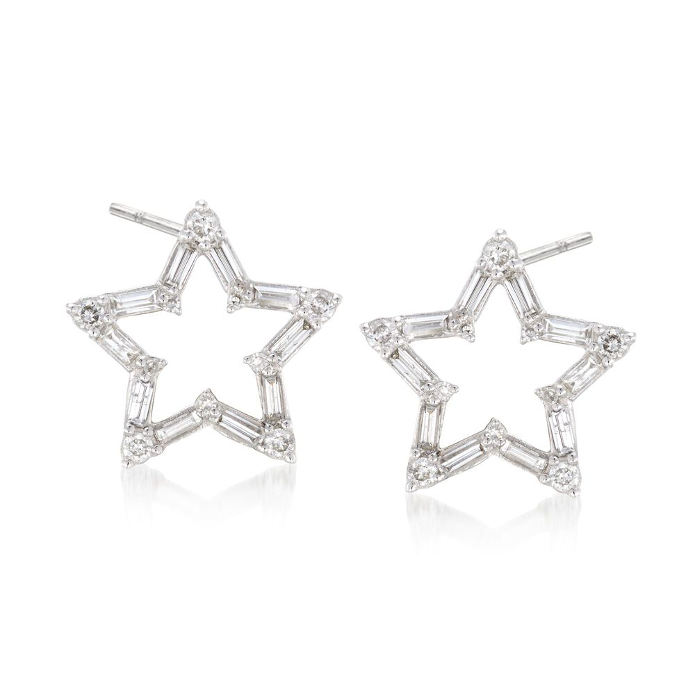 T W Baguette And Round Diamond Open Star Earrings In 14kt White Gold