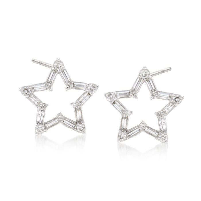 .33 ct. t.w. Baguette and Round Diamond Open Star Earrings in 14kt White Gold, , default