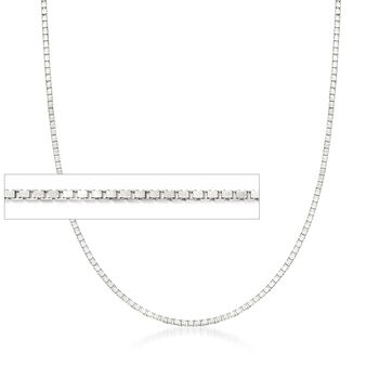 Italian 1mm Sterling Silver Adjustable Slider Box Chain Necklace , , default