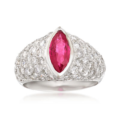 2.05 ct. t.w. Diamond and 1.00 Carat Ruby Ring in 18kt White Gold, , default