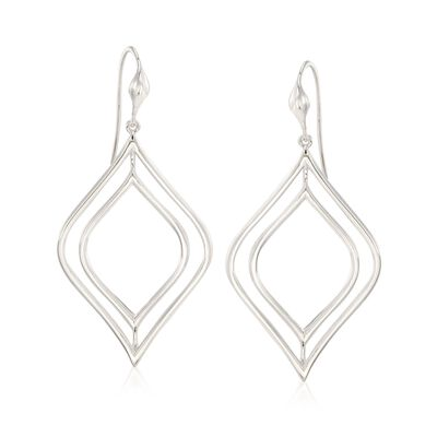 "Zina Sterling Silver ""Contemporary"" Double Marquise Drop Earrings, , default"