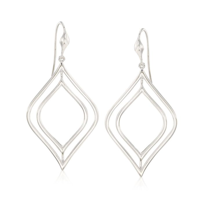 "Zina Sterling Silver ""Contemporary"" Double Marquise Drop Earrings"
