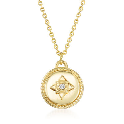 14kt Yellow Gold Star Medallion Necklace with Diamond Accent, , default