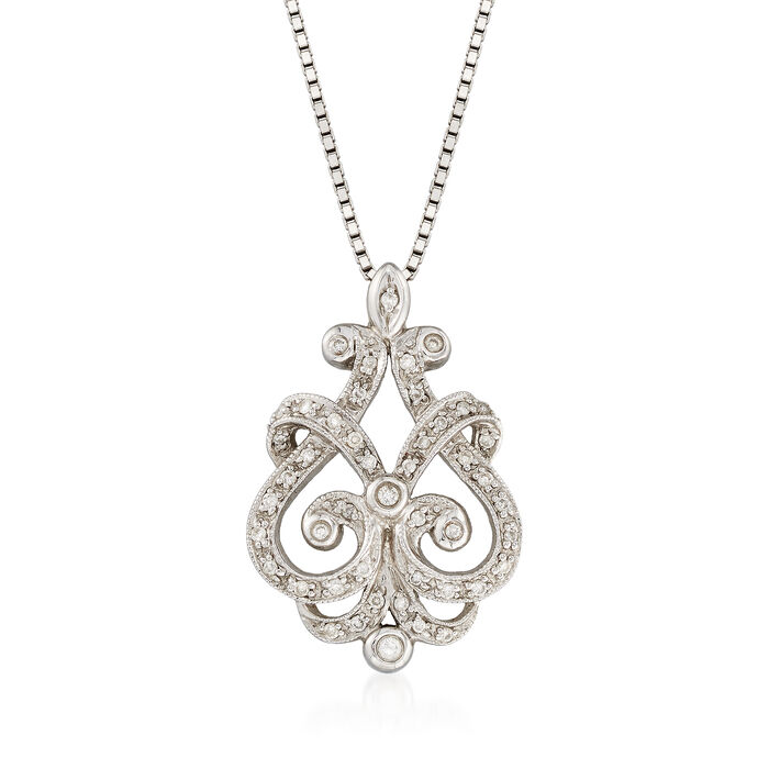 "C. 1990 Vintage .20 ct. t.w. Diamond Open Scrollwork Necklace in 14kt White Gold. 20"", , default"