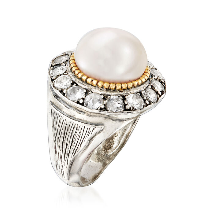 11-12mm Cultured Pearl and 1.90 ct. t.w. White Topaz Ring in Sterling Silver and 14kt Yellow Gold