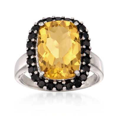 6.50 Carat Citrine and Black Spinel Ring in Sterling Silver, , default