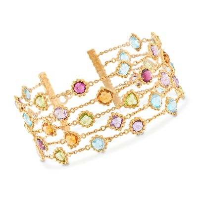 23.70 ct. t.w. Multi-Stone Beaded Multi-Row Bracelet in 18kt Gold Over Sterling, , default