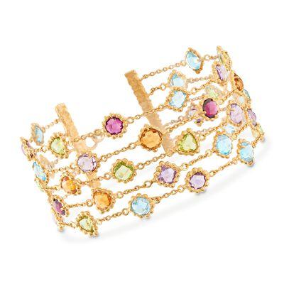 23.70 ct. t.w. Multi-Stone Beaded Multi-Row Bracelet in 18kt Gold Over Sterling, , default