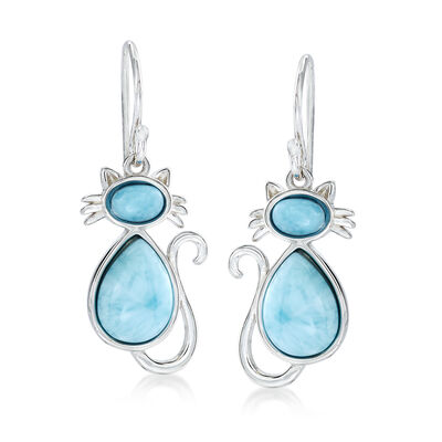 Larimar Cat Drop Earrings in Sterling Silver, , default
