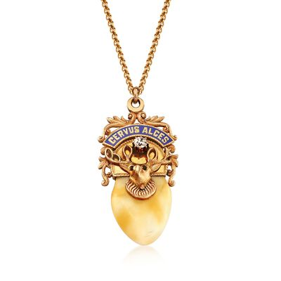 C. 1940 Vintage .25 Carat Diamond and Bone Elks Lodge Pendant Necklace in 14kt Yellow Gold, , default