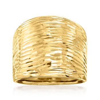 Italian 14kt Yellow Gold Diamond-Cut Dome Ring, , default