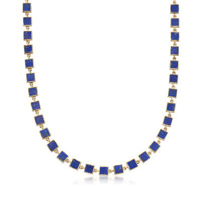 Lapis Station Necklace in 18kt Yellow Gold Over Sterling Silver, , default