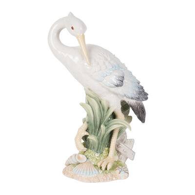 "Fitz and Floyd ""Newport Home"" Tall Egret Facing Backward Figurine, , default"