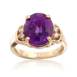 C. 1990 Vintage 4.50 Carat Amethyst and 1.75 ct. t.w. Diamond Ring in 14kt Yellow Gold. Size 7, , default