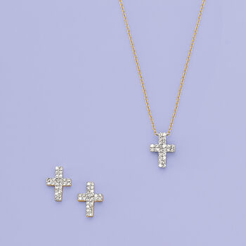 .14 ct. t.w. Diamond Cross Necklace in 14kt Yellow Gold, , default