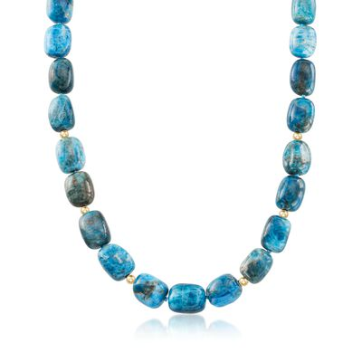 Blue Apatite Bead Necklace With 14kt Yellow Gold, , default