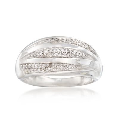 .20 ct. t.w. Pave Diamond Striped Dome Ring in Sterling Silver, , default