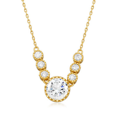 2.50 ct. t.w. CZ Necklace in 18kt Gold Over Sterling