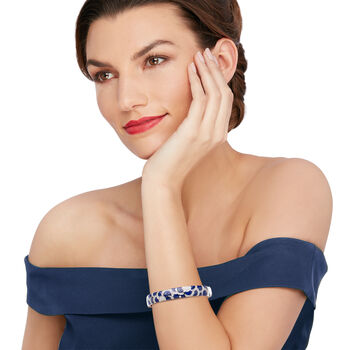 "Belle Etoile ""Adina"" Lapis and 1.00 ct. t.w. CZ Bangle Bracelet in Sterling Silver. 7"", , default"