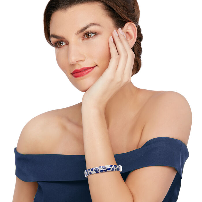 """Belle Etoile """"Adina"""" Lapis and 1.00 ct. t.w. CZ Bangle Bracelet in Sterling Silver"""