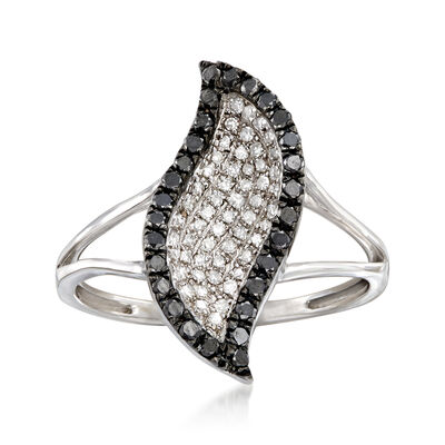 .45 ct. t.w. Black and White Diamond Ring in 14kt White Gold